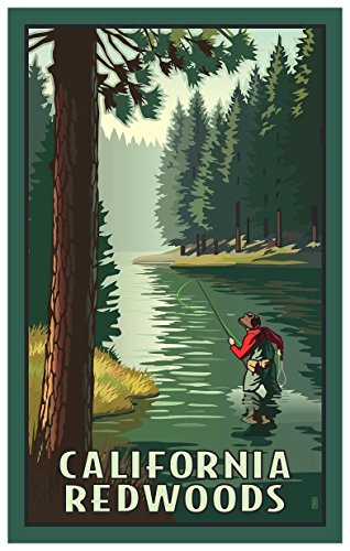 California Redwoods River Fly Fishing Travel Art Print Poster by Paul Leighton (12