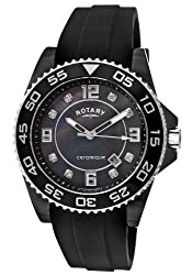 Rotary Men's CEBRS-37 Ceramique Black Mother of Pearl Silicone Cn