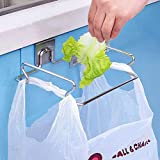 HOKIPO® Stainless Steel Over The Cabinet Door Trash Bin Bag Holder for Kitchen
