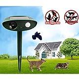 BaiFM Ultrasonic Pest Animal Repeller Solar powered Cat Dog Fox Deer Rodent Repellent for Farm Garden Outdoor ()