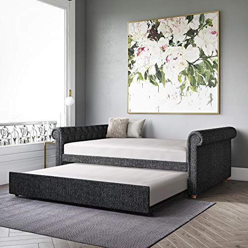 DHP Sophia Upholstered Queen Full Trundle, Dark Gray Linen Daybed, (Queen Daybed)