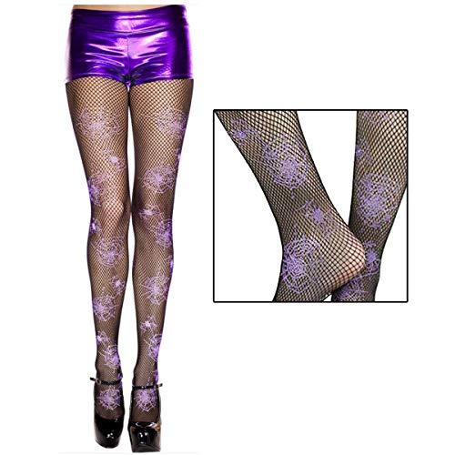 Sheer Black Fishnet Pantyhose with Purple Spider Web Print