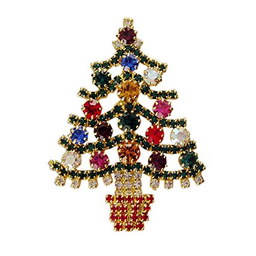 Lauren-Spencer Extravagant Handmade with Multi Color Swarovski Crystals Christmas Tree Vintage Inspired Brooch pin RSP2298