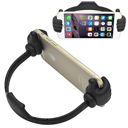 iProtect Silikon Smartphone-Halter Handy Ständer umarmende Hände Halterung für den Schreibtisch Daumen hoch in schwarz