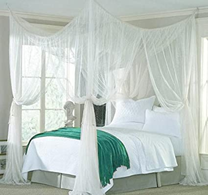 b8f35935c8f5b Image Unavailable. Image not available for. Color  vinmax 4 Corner Post Bed  Canopy Mosquito Net Full Queen King Size Netting Bedding White