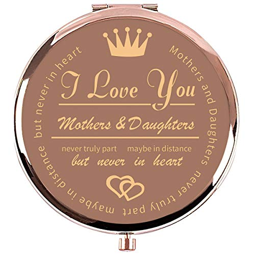 Ueerdand Gifts from Mom Unique Birthday Gift Ideas for Granddaughter, Graduation Gifts for Her, Present for Women, Rose Gold Purse Pocket Makeup Mirror (I Love You Mother&Daughter - Rose Gold)