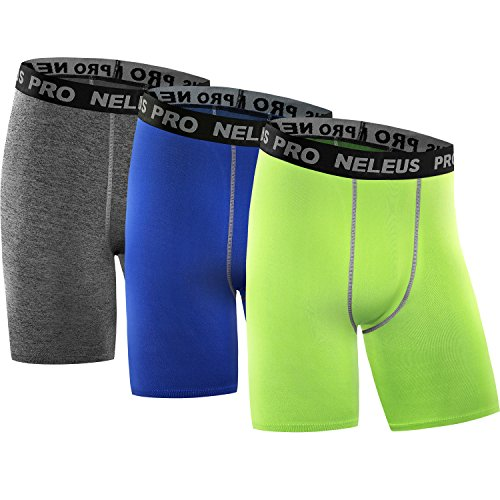 Neleus Men's 3 Pack Compression Shorts Running Workout Shorts,6034,Grey,Blue,Green,US M,EU L