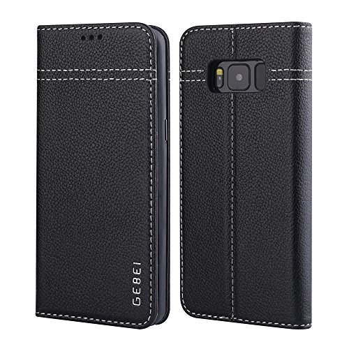 Price comparison product image Galaxy S8 Plus Case,  Amabin Genuine Leather Credit Card Slot Hidden Magnetic Book Stand Slim Flip Folio Wallet Case for Samsung Galaxy S8 Plus (Black)