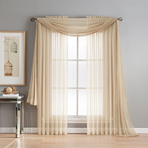 Window Elements Diamond Sheer Voile 56 x 216 in. Curtain Scarf, Taupe (Scarves Curtains For)