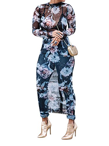 Seraih Womens Long Sleeve Turtleneck Floral Printed Sexy See Through Dress Bodycon Party Clubwear Dresses Plus Size ()