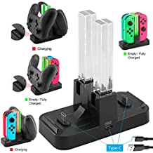 Whiteoak Switch Pro Controller Dual Charger, Nintendo Switch Joy-Con Charging Dock Station Stand with LED Indication,[Upgraded Version] with Free Type C Cable