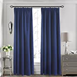 Aquazolax Kitchen Blackout Curtains Panels - Readymade Window Treatment Thermal Insulated Solid Room Darkening Drapes for Bedroom/Hotel, 2 Panels, 66'' by 72'', Navy Blue
