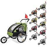 SAMAX Children Bike Trailer 2in1 Kids Jogger in Red/Black - Silver Frame