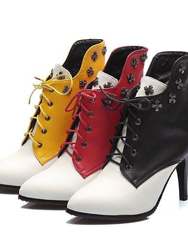 us8 Noche Zapatos Cn39 negro Xzz Mujer Botas Yellow Oficina Uk6 us10 Stiletto Tacón Eu39 Eu42 Amarillo De Casual Puntiagudos Red Fiesta Trabajo 5 Uk8 5 Y Cn43 Semicuero 7TxnRT6