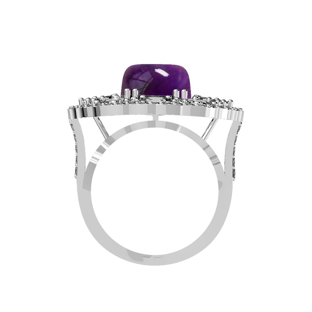 5.60ct Genuine Amethyst Cushion /& .925 Silver Overlay Cocktail Rings