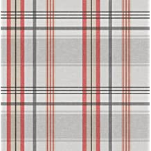 """40"""" x 55"""" Rectangular Burberry Red & Grey Vinyl Tablecloth Non-Woven Backing (Seats 2-4 People)"""