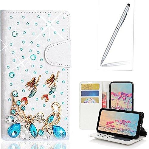 Yaheeda ZTE ZMAX Case Stylus, [Stand Feature] Butterfly Wallet Premium [Glitter Luxury] Leather Flip Cover [Card Slots] ZTE ZMAX/ZTE Z970 by Yaheeda