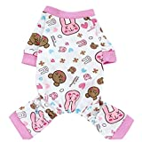MNBS Pet Dog Cute Cartoon Cotton Pajamas Coat Onesie Jumpsuit Apparel Puppy Teddy Chihuahua Sleeping Wear Pink S