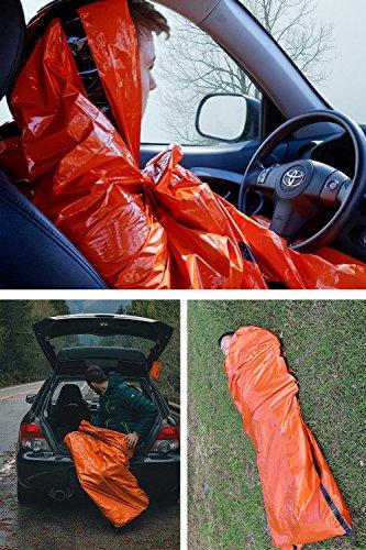 Shayson Saco de Emergencia Dormir,Aislamiento Térmico, Exterior Brillante Naranja Fácil de Localizar Portátil,para… 3