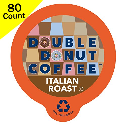 Double Donut Gourmet Dark Roast Coffee, in Recyclable Single Serve Cups for use with all Keurig K-Cups Brewers, 80 Count (Italian Roast)
