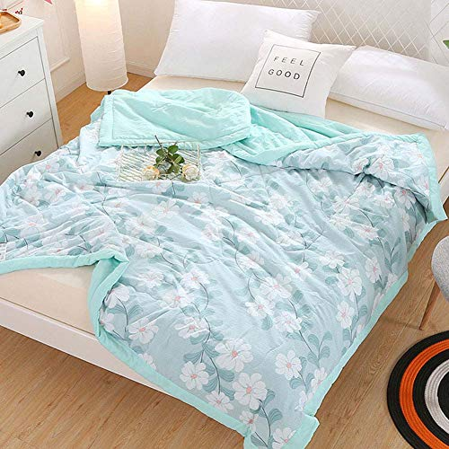 (CH&Q Imagine Sea Flower Printed Quilt Comforter,Cute Cozy Lightweight Cotton Blanket Twin,Soft Warm Throw Blanket for Bed,Couch & Sofa,Bedding Coverlet (Twin 59''x 78'',Imagine Sea Flower))