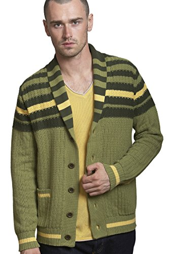 REVOLUTION NOW Men's Knitted Stripe Yoke Cardigan Sweater (Large, Hunter Green) - Tipped Cotton Cardigan