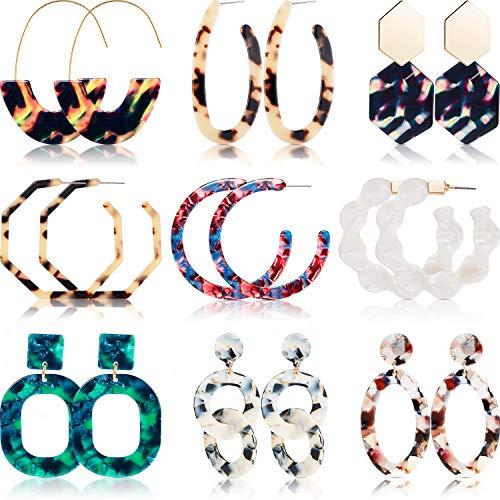 9 Pairs Mottled Acrylic Hoop Earrings Resin Stud Earrings Bohemian Statement Stud Drop Dangle Earrings Jewelry for Women Girl (Style Set 1)