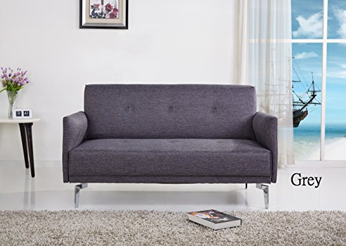 Container Furniture Direct Emma Collection Modern Fabric Upholstered 2 Person Living Room Loveseat, Gray