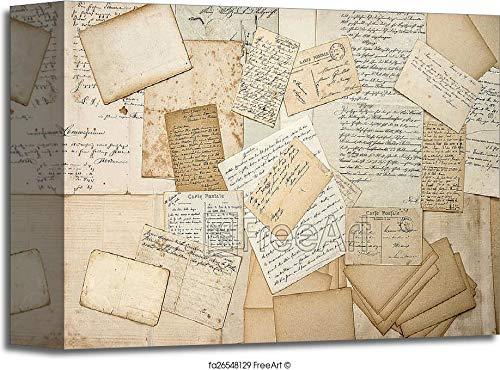 Barewalls Old Letters, Handwritings, Vintage Postcards, Ephemera Gallery Wrapped Canvas Art (8in. x 10in.)