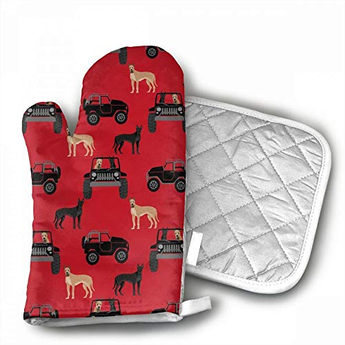 Great Dane in Jeeps Cute Dogs Black Red Oven Mitts,Professio