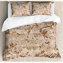 Camo Duvet Cover Set by Ambesonne, US Marine Desert Marpat Digital Texture Background in Brown Colors, 3 Piece Bedding Set with Pillow Shams, Queen / Full, Brown Light Brown Cinnamon
