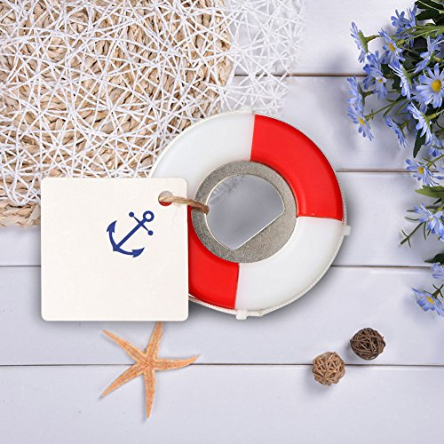 PartyTalk 20pcs Nautical Wedding Favors Lifesaver Bottle Opener with Anchor Tags and String Beach Wedding Gifts Nautical Baby Shower Birthday Party Decorations