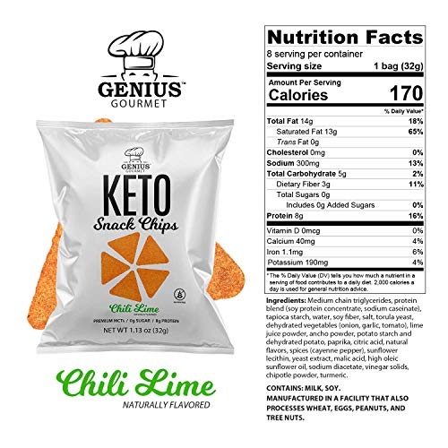 Genius Gourmet Protein Keto Chips, Low Carb, Premium MCTs, Gluten Free, Keto Snack (Chili Lime), Pack of 8, 1.13 oz. (32 g) Each