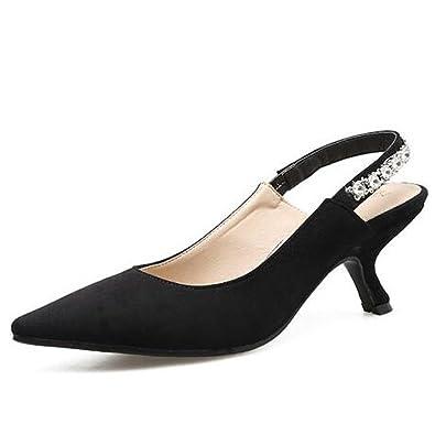 752adaa82edf YongBe Women s Sandals Loop Kitten Heel Pointed Toe Rhinestone Slingback  Dress Court Shoes Pumps Wedding Casual