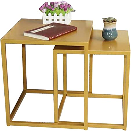 Table XIA Mesas Nido, Juego de 2 mesas Laterales, Mesita de Noche Moderna para Sala de Estar/Dormitorio, Hierro (Negro, Dorado) (Color : Oro): Amazon.es: Hogar