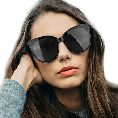 LVIOE Polarized Oversized Frame 100% UV Protection Fashion Cateyes Style Sunglasses Eyewear for Women (Black, ()