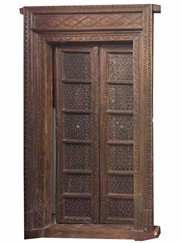 Antique Doors Floral Hand Carved Teak Wood Double Door & Frame Indian Haveli Mid Century Old World Decor by Mogul Interior