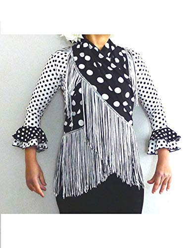 cf434d1c6 Handmade Flamenco shawl with fringe, manton, polka dots, red, black ...