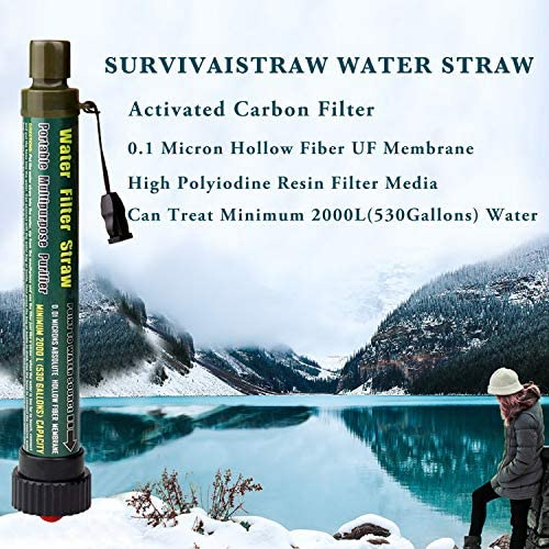 SurvivaIStraw Water Filter Straw for Backpacking and Camping, Advanced Water Purification with 2000L 4-Stage Filtration, Water Purifier for Hiking,Hunting, Travel and Emergency