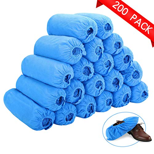Shoe Covers Disposable,200 Packs (100 Pairs),Large Size Fits Most People,Shoe Cover Booties for Indoor and Outdoor, Hospital & Construction.Protect Your Home, Floors and Shoes(Blue) (blue) (Shoe Booties)