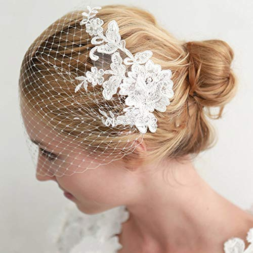 V20 Real Lace Appliques Pearls Vintage Birdcage Veil Blusher Veil Simple Wedding Veils Ivory