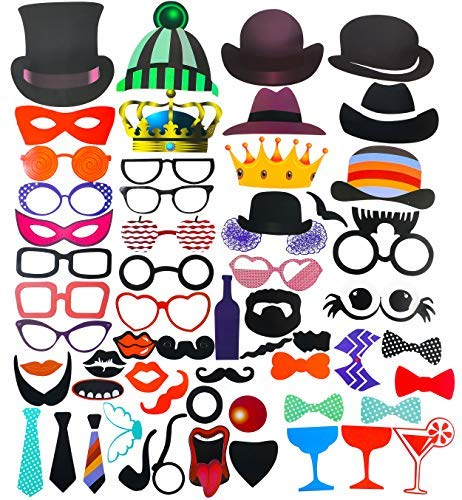 Set of 58 Photo Booth Props - Fun Props to Instantly Make Photo Booth Pictures More Interesting | Wedding | Graduation | Birthday | Party - Perfect for Any Occasion ()