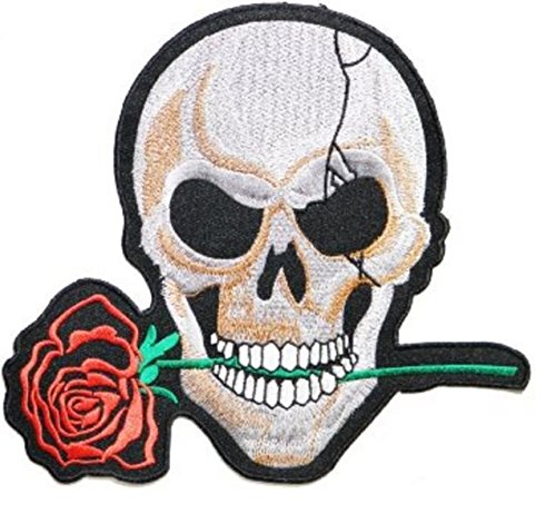 Unique, Large Size Patch Badge 9.75 x 9'' Red Rose Skull Skeleton Bone Head Ghost Embroidered Iron on Sew Cool Look for Biker Trucker Rocker Chopper Jacket by Crazy Patchy