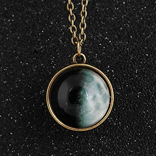 Mikash Hot Glow in Dark Full Moon Crescent Glass Ball Pendant Luminous Women Necklace | Model NCKLCS - 37254 |