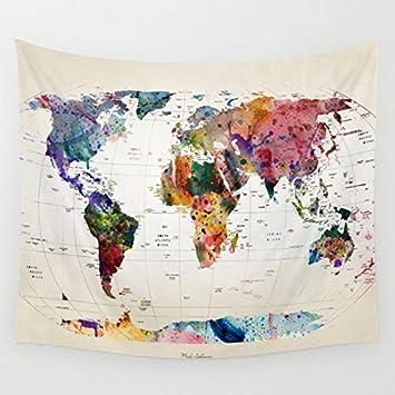 Europa Y América Color Mapa Del Mundo Tapiz Habitación Infantil Dormitorio Salón Dormitorio Pintura Mural Fotográfico De Tela ...