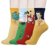 KONY Women's Cotton Art Patterned Fun Novelty Crew Socks Famous Painting Fashion Socks Gift Size 5-9 (Art Socks - 4 Pairs)