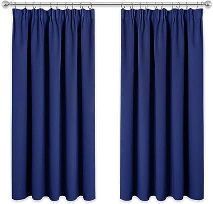 pony dance rideaux occultants decoration de fenetre 117 137 cm bleu marine 2 panneaux rideau salon occultant isolation thermique avec galon