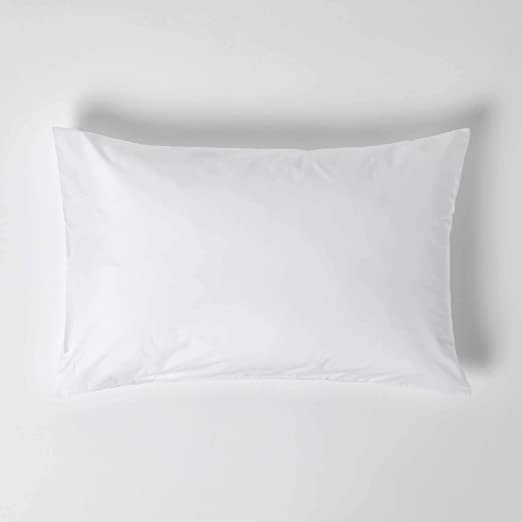 Homescapes Funda de almohada Estandar estilo-Housewife-50 x 75 cm de color Blanco en 100% algodon egipcio densidad de 60 hilos/cm²