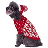 "Blueberry Pet 6 Patterns Let It Snow Classic Ugly Christmas Holiday Snowflake Pullover Hoodie Dog Sweater in Red and White, Back Length 16"", Pack of 1 Clothes for Dogs"