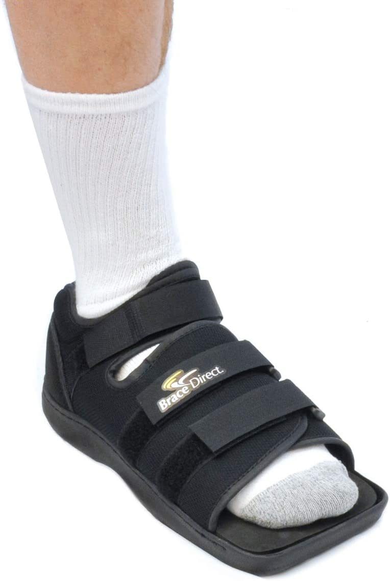 Post Op Recovery Shoe - Adjustable Medical Walking Shoe for Post Surgery or Operation Support, Broken Foot or Toe, Stress Fractures, Bunions, or Hammer Toe for Left or Right Foot by Brace Direct